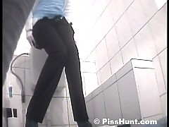 Two hot blondies peeing in spycammed loo